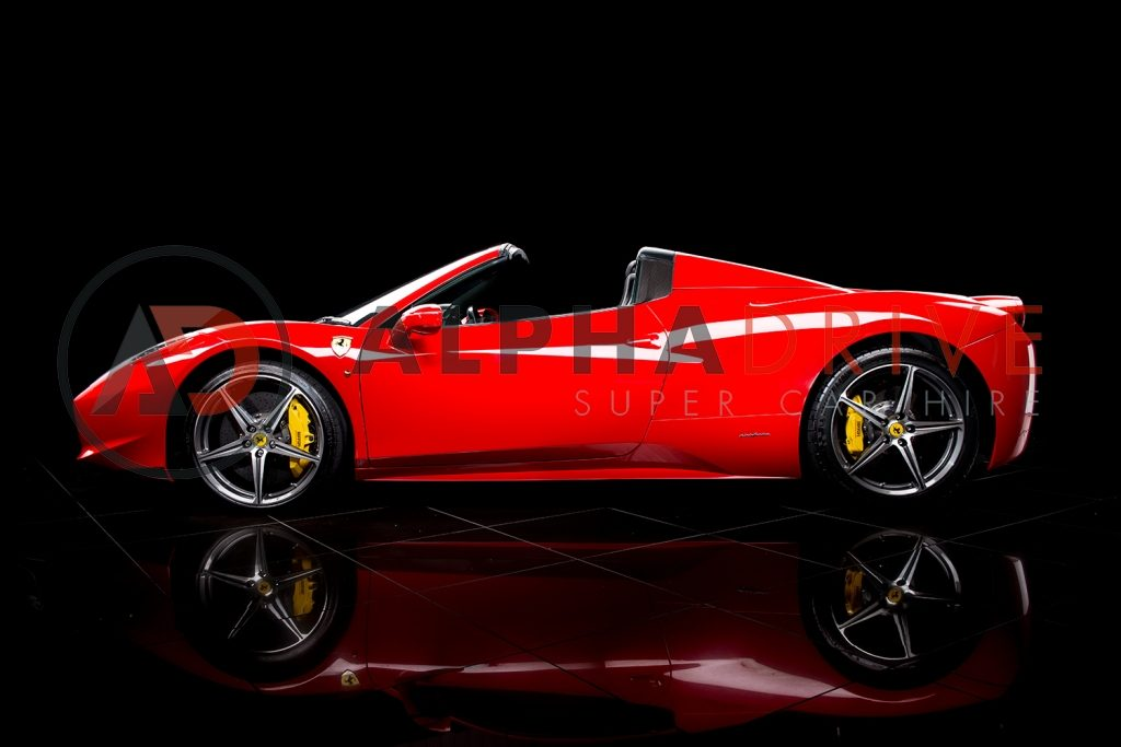 Ferrari-458-Spider-1 roof down car hire London