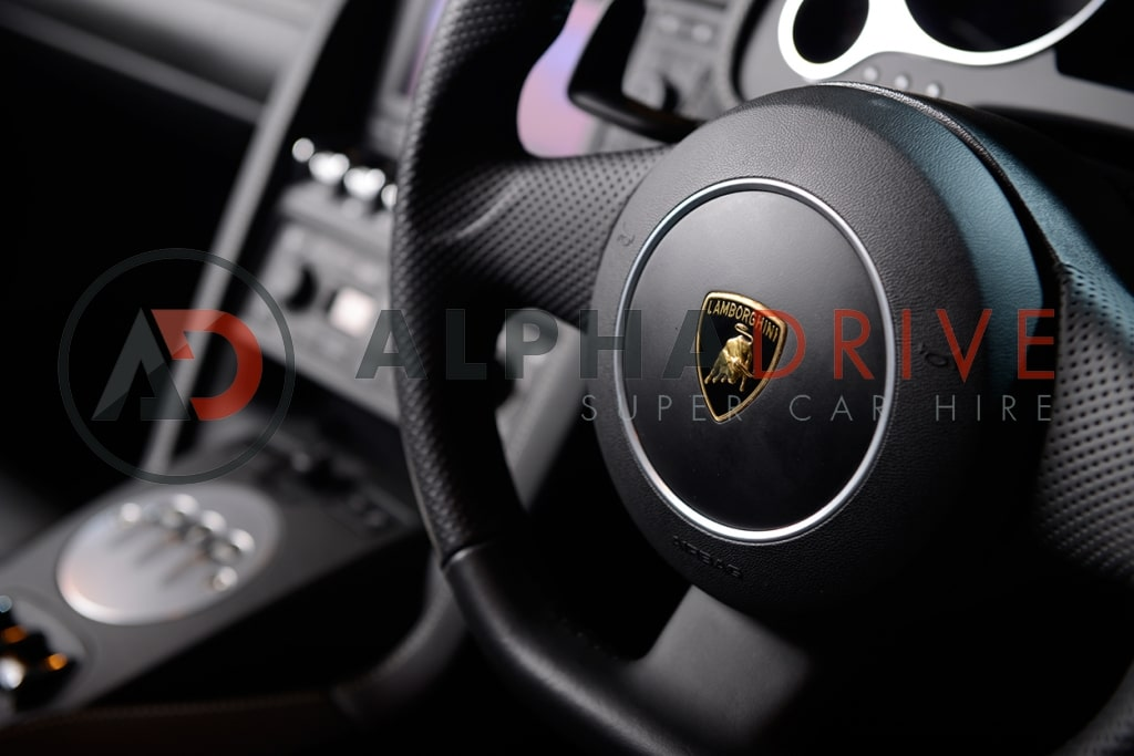 Lamborghini steering wheel London car hire