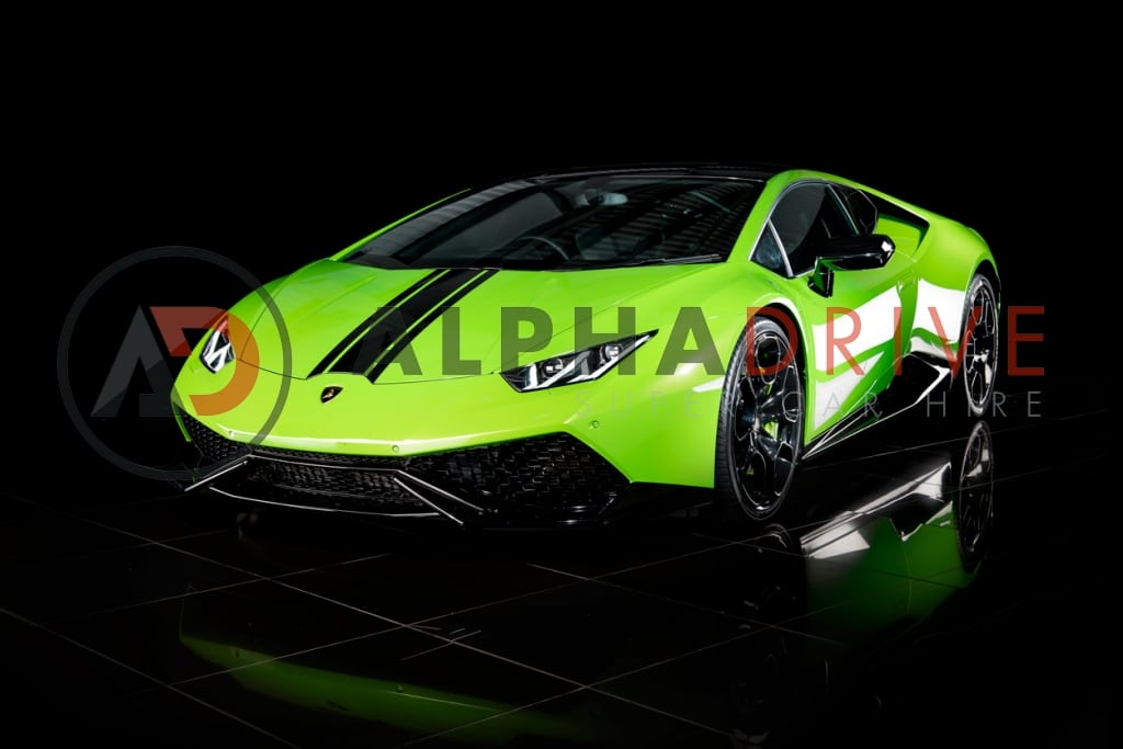 Lime green Lamborghini car hire