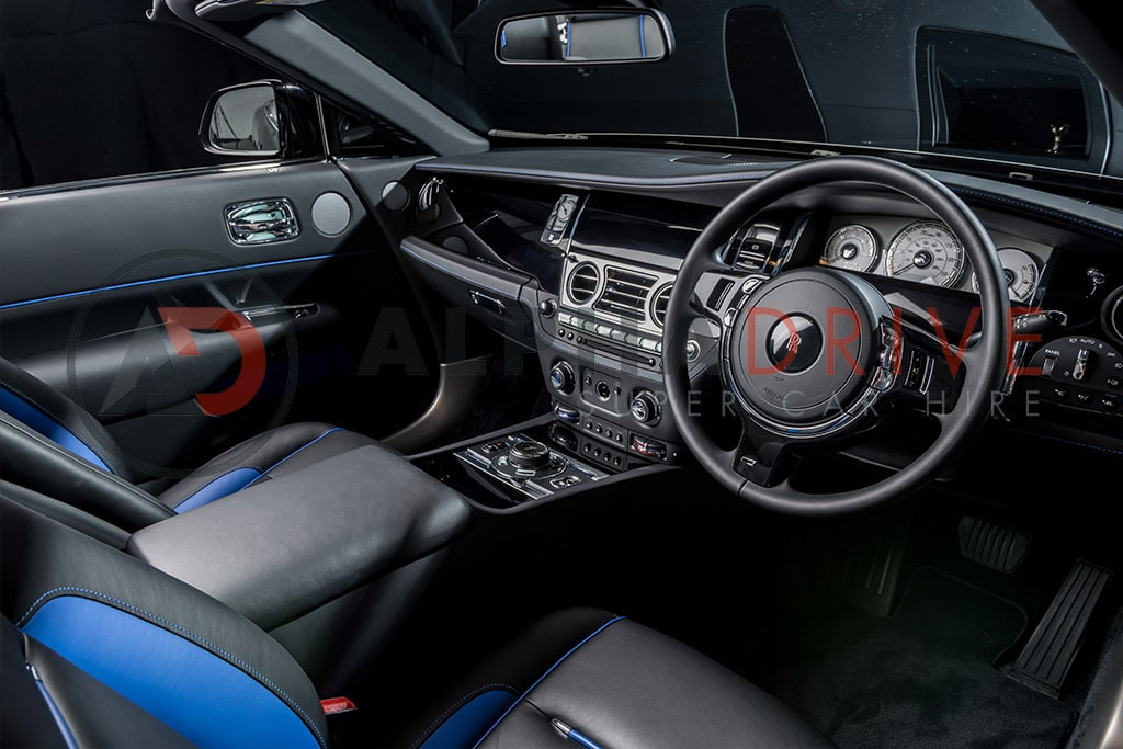 Blue trim interior on the new Rolls Royce Dawn